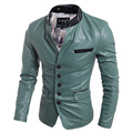 Slim Fit Blazer Leather Jackets For Men Green Motorcycle Single Breasted Jacket Fashion Casual Man Clothing Black xxl