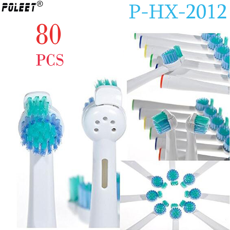 Poleet 80Pcs Lot Electric Toothbrush Replacement Heads P HX 2012 HX2012 Fits For Philips Toothbrush Heads