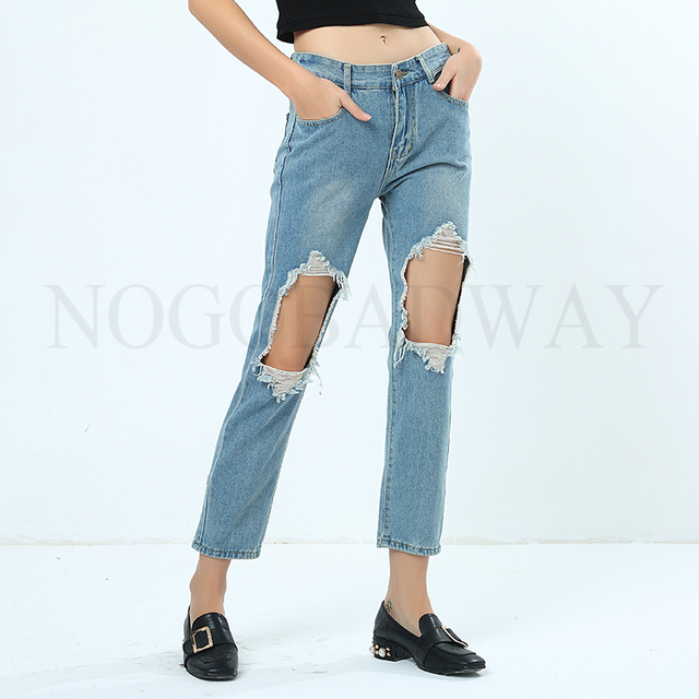 f3fb1e45edac9 Plus Size Ripped Jeans for Women Blue Washed Distressed Holes Boyfriend  Denim Jeans Pants Woman Destroyed Spring Summer bottom