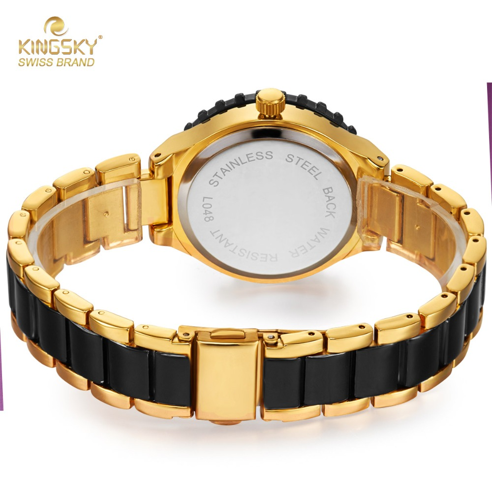 92430bdc220e Top Brand Luxury Watches Ladies Black Gold Imitation Ceramic Quartz Watch  Fashion Ladies Dress Wrist Watch Lady Wristwatch-in Women's Watches from  Watches ...