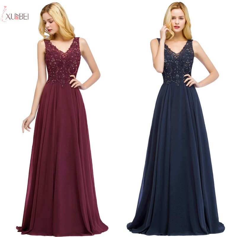 2019 Elegant Burgundy Chiffon Long Bridesmaid Dresses Sleeveless Beading Wedding Party Guest Dress Robe Demoiselle D'honneur
