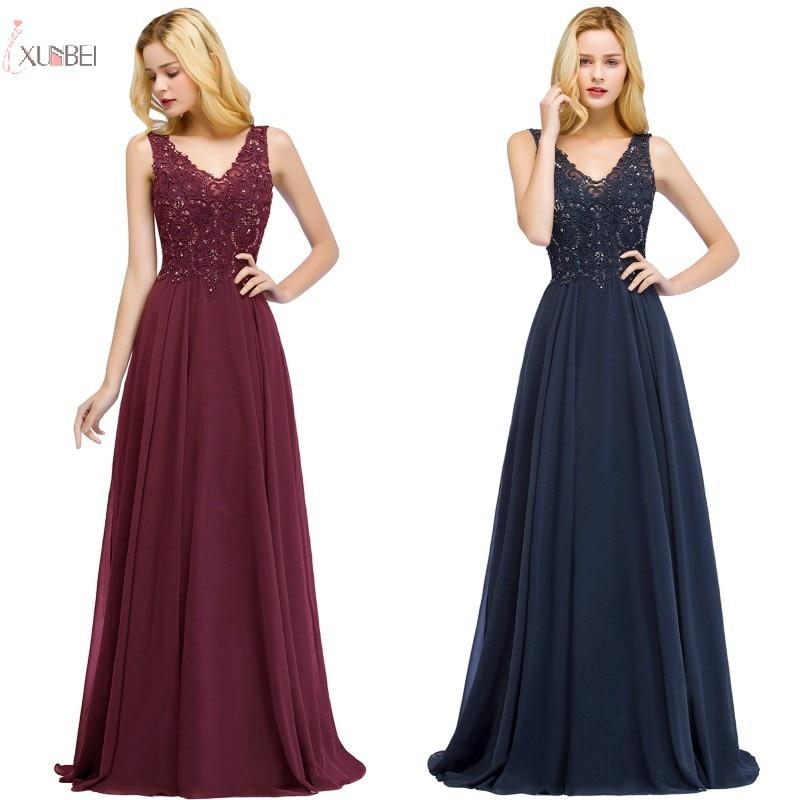 2019 Elegant Burgundy Chiffon Long Bridesmaid Dresses Sleeveless Beading Wedding Party Guest Dress robe demoiselle d'honneur