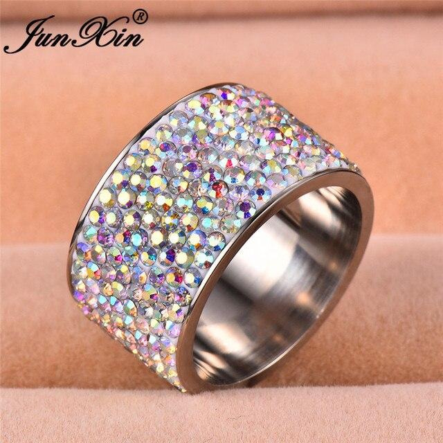 144821a852f9 JUNXIN cristal Multicolor grandes anillos para hombres mujeres titanio  Acero inoxidable anillo de dedo de ancho