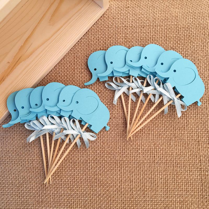 Hot selling 12pcs/set Double Sided Baby Shower Elephant Cupcake Toppers Boy 1st Birthday Party Decorations Supplies