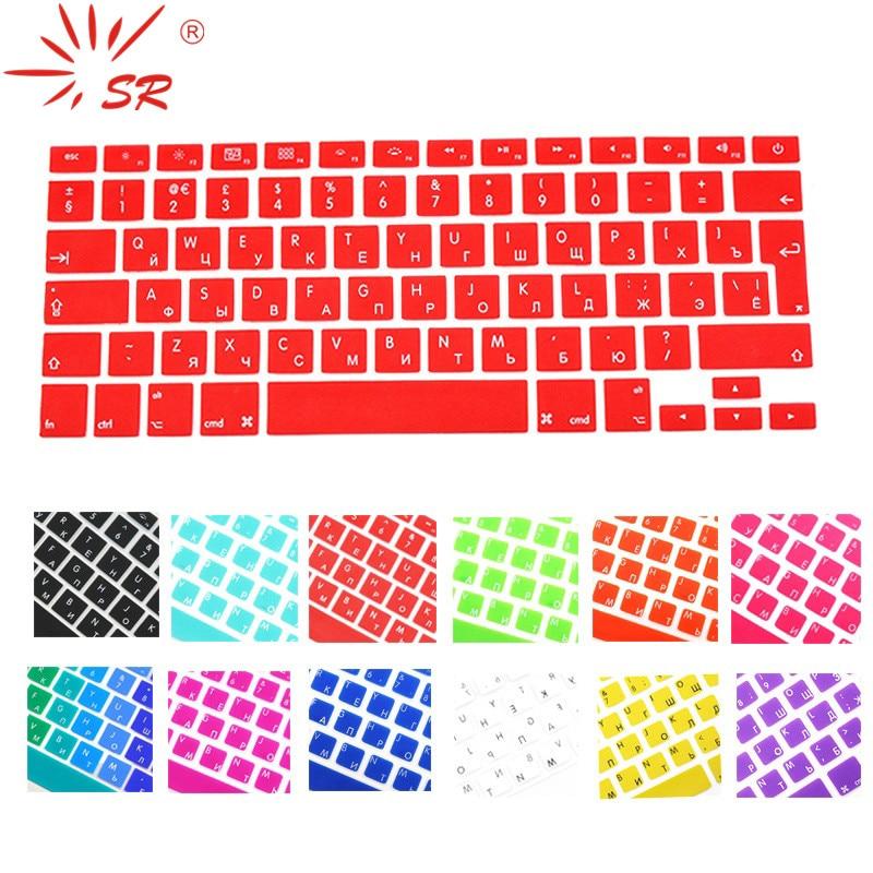 SR 14 Color EU Russian Language Letter Silicone Keyboard Cover Sticker For Macbook Air 13 Pro 13 15 17 Retina Protector Sticker