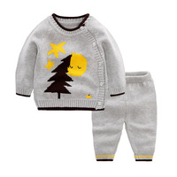 Baby Clothes For Newborn Girl And Boy Sets Blue Gray Pink Autumn Bouncy Pattern Sweater 3