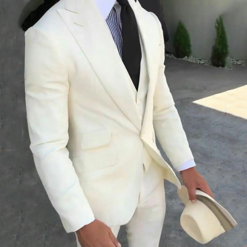 Latest Coat Pant Designs Linen Ivory Mens Suits Man Blazers Groom Wedding Tuxedos Peaked Lapel Bridegroom Wear 3piece Prom Party
