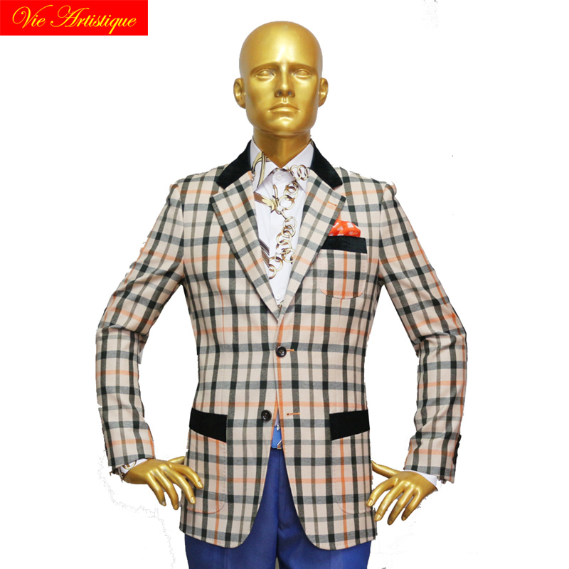 Custom Tailor Made Men's Bespoke Suits Business Formal Wedding Ware Bespoke 2 Piece (Jacket+Pants) Beige Plaid Wool Slim Fit 19