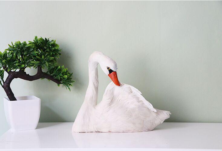 large 20x24cm white swan model polyethylene furs handicraft garden decoration gift A0687