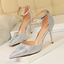 Elegant Women 9cm High Heels Sandals Silver/Gold/Gray/Black Casual Lady Shoes Summer Classic Female Woman Footwear