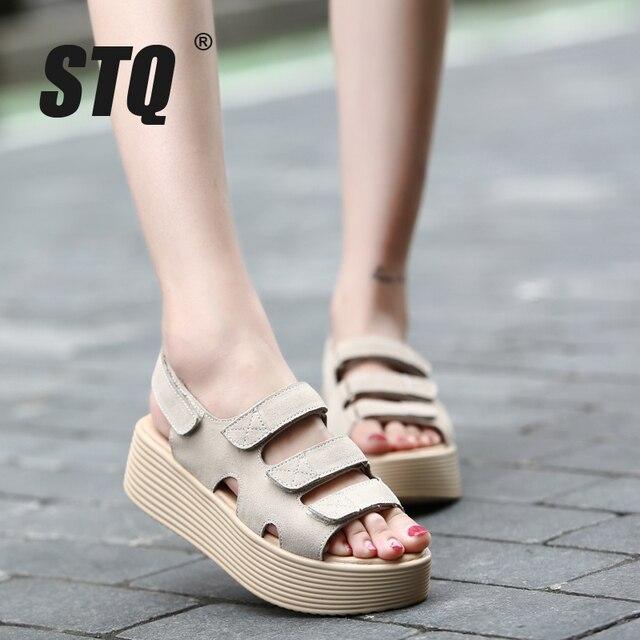 8c99510729893 STQ 2017 women sandals suede leather wedges thick heel flat sandals  gladiator sandals ladies original platform