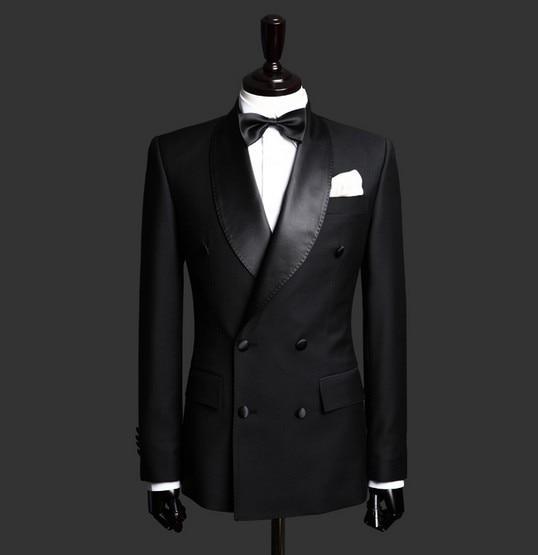 핫 세일 블랙 목도리 옷깃 더블 브레스트 비즈니스 남성 정장 2 조각 맞춤형 웨딩 턱시도 남자 (자켓 + 바지 + BowTie)