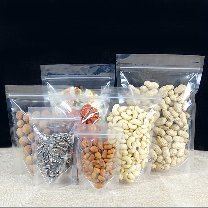 Large Zip Lock Clear Plastic Bag Stand Up Gift Dried Food