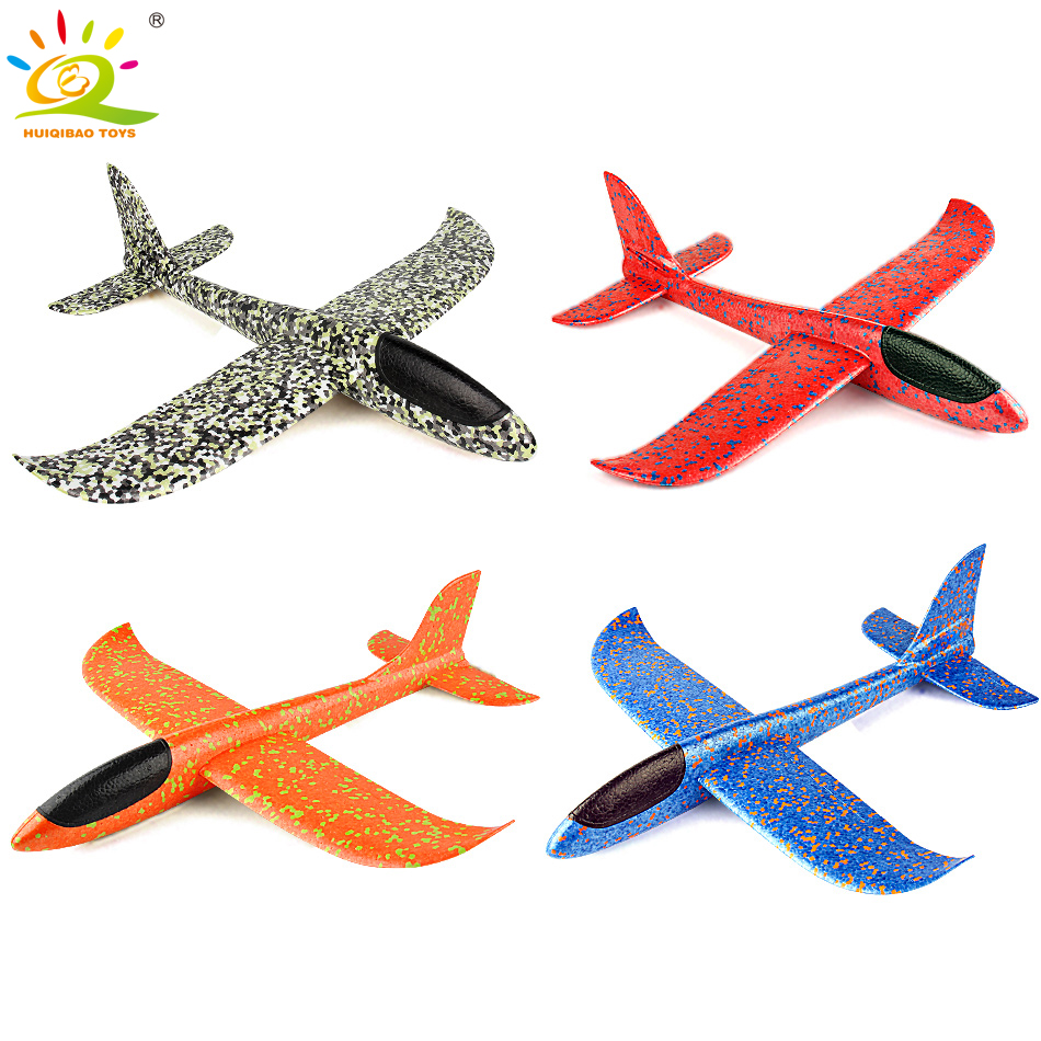 HUIQIBAO TOYS 1PCS 35*31cm Foam Plane Throwing Glider Inertial Foam EPP Flying Airplane Model Outdoor Sport Planes Toys For Kids