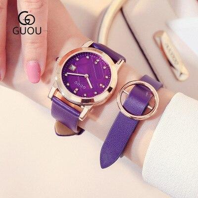 New brand GUOU Fashion Ladies Watch Kobiet zegarka quartz-watch waterproof leather bracelet Women Dress Watches Relogio Feminino цена