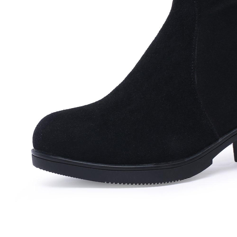 De Zapatos Negro Rodilla 2018 Sb335 Talón Mujeres Botas Cuero Vaca Zip Nueva Mujer Cuadrado Moda Genuino Suede Bordar Invierno wFqFIxBt