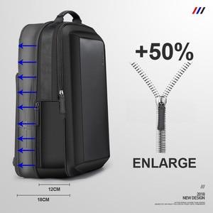 Image 2 - BOPAI Stylish Leather plecak for Men Fashion Mens Rucksack Backpack Solid Slim Men School Bags USB College School Backpack Black