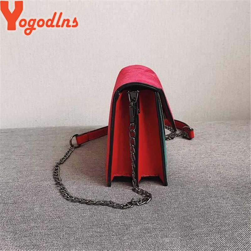 Yogodlns Retro Matte Patchwork Tas Selempang untuk Wanita Messenger Tas Tali Rantai Tas Bahu Wanita Kecil Flap Silang tas