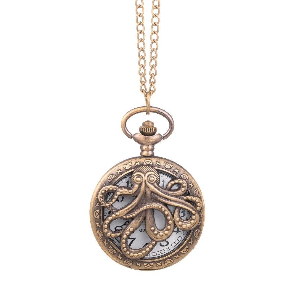 Steampunk Octopus Hollow Half Hunter Quartz Pocket Watch Necklace Vintage Necklace Pendant Clock For Kids Men Women Reloj