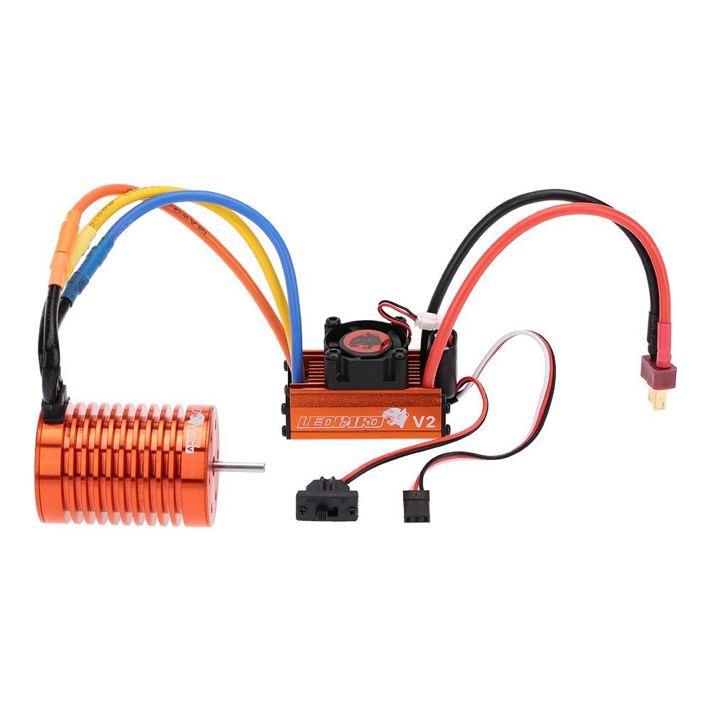 DIY 9T 4370KV Brushless Motor & 60A Brushless ESC with 5V/2A BEC Linear Mode & Program Card Combo Set for 1/10 RC Car skyrc leopard 60a esc brushless motor 9t 4370kv 1 10 car combo with program card for car boat