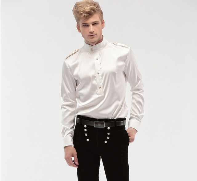 fcccddcedce94 FanZhuan Free Shipping New fashion personality male Men s Wedding White  groom badges long sleeved shirt 14276