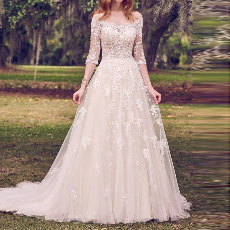 Vesido De Novia Wedding Dresses 2020 Three Quarter Sleeves Tulle Appliqued Vintage Court Train Mariage Bridal Dress Trouwjurk