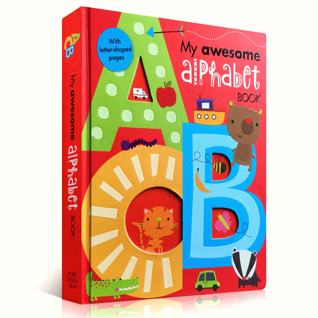 My Awesome Alphabet Book ABC original English board Books Baby kids learning educational word book with letter shaped 56 pages my first abc sticker activity book