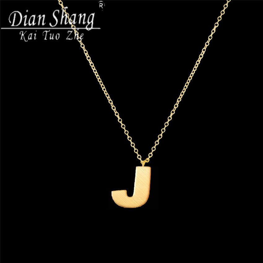 DIANSHANGKAITUOZHE 10pcs 2017 Graduation Gift Initial J Necklaces U0026  Pendants Women Gold Color Word Collier Femme Stainless Steel In Pendant  Necklaces From ...