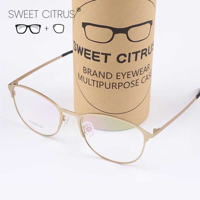 Sweet Citrus Brand Designer Glasses Men Vintage Trend Gold Optical Myopia Eyeglasses Women Eyewear Prescription Titanium Oculos