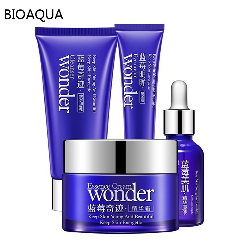 Blueberry Bioaqua Miracle Ansigtpleje Sæt Fuktgivende Eye Cream Face Cleansing Serum