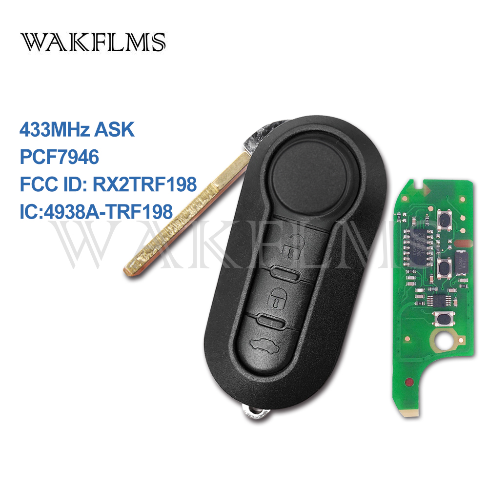 3 Button Remote Key Fob 433MHz ID46 for Fiat 500L MPV Ducato for Citroen Jumper for Peugeot Boxer 2008-2015 RX2TRF198 No Mark(China)