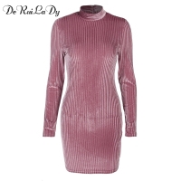 DeRuiLaDy 2018 Women Autumn Spring Velvet Dress Robe Long Sleeve Sexy Mini Sheath Slim Bodycon Dresses