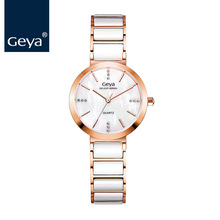 Geya 2017 Ceramics Women Watches Top Luxury Brand Rose Gold Waterproof Quartz Wristwatches Fashion Ladies Clock Montre Femme