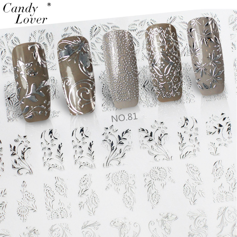 Candy Lover Hot Sale 3D Flower Silver Nail Stickers Manicure Decals Stamping French Nails Art DIY Nail Art Decoration Tools 30pcs set 3d lace nail art stickers decals manicure decoration nail accessories white black diy tools beauty nails