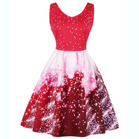 Winter Christmas Snowman Party Dresses Red Sleeveless Plus size Vintage 50s Prom Gown Cocktail Short Dress Polka Dot Sexy Dress