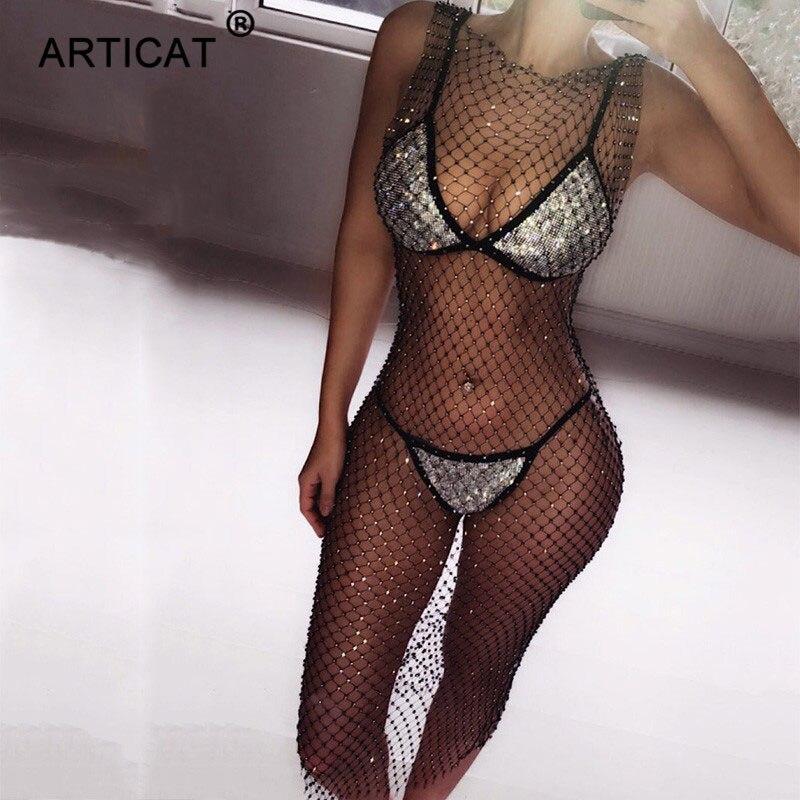 Articat Crystal Diamond Mesh Sexy Bodycon Dress Women Hollow Out Fishnet Summer Beach Knee-Leng Dress Transparent Party Vestidos