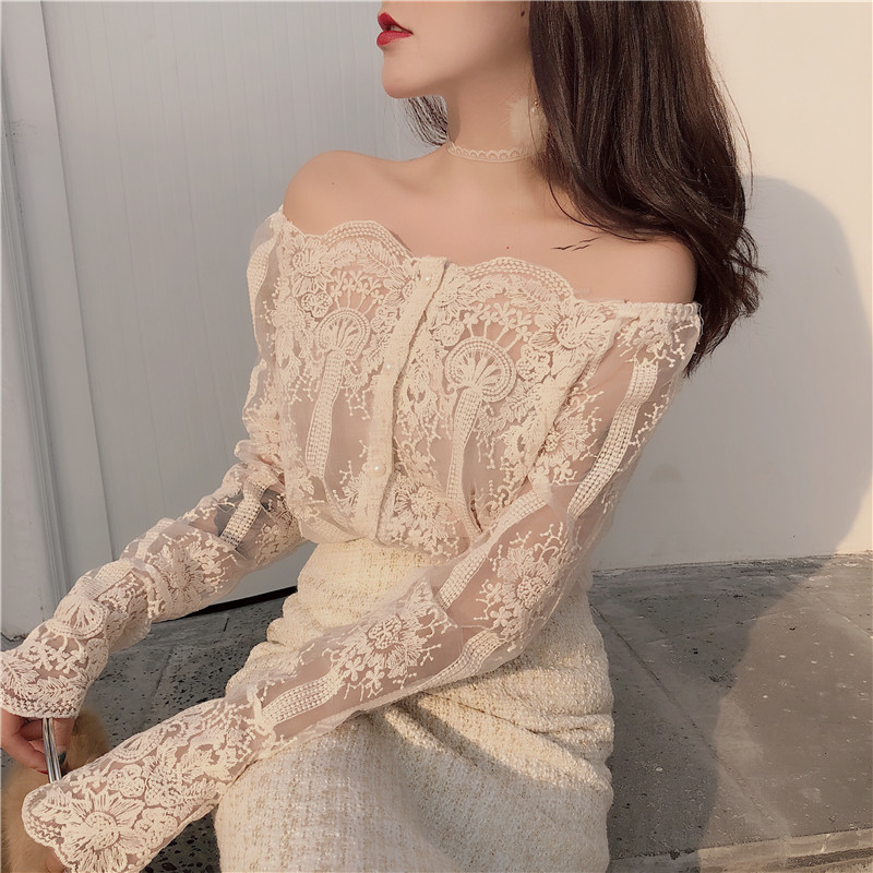 New Arrivals Ladies Fashion Sexy Lacework Slash Neck Strapless Sling Chic Pullover Slim   Blouse     Shirt   Women Lace Long Sleeves Top