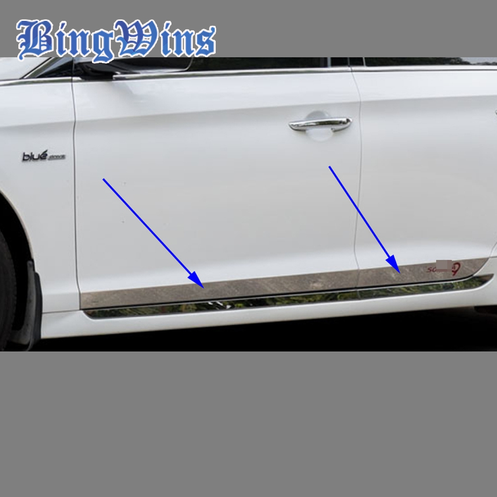 NEW ACCESSORIES car door body trim FOR Hyundai Sonata LF 9 SIDE DOOR BODY GARNISH MOULDING COVER trim PROTECTION CAR STYLING car styling abs chrome body side moldings side door decoration for hyundai ix35