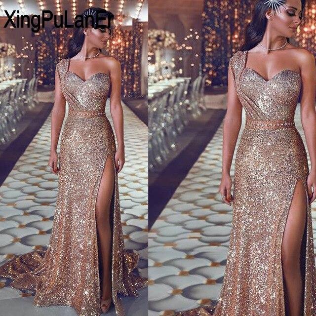 Une épaule paillettes d'or haute fente découpe jambe Sexy longues filles Robe De bal longue Robe De bal robes De soirée Robe De soirée - 3