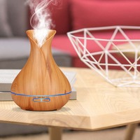 Hot New 400ml Essential Oil Diffuser Ultrasonic Air Humidifier Wood Grain 7 Colors Change for Office Home HY99 JY23