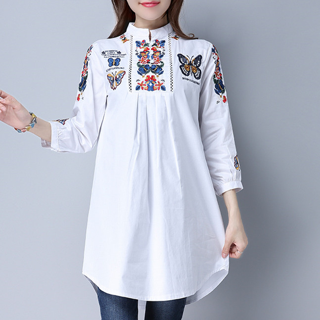 2017 New Spring And Summer Embroidered Butterflies Casual White Shirt Embroidery Loose Vintage Tops