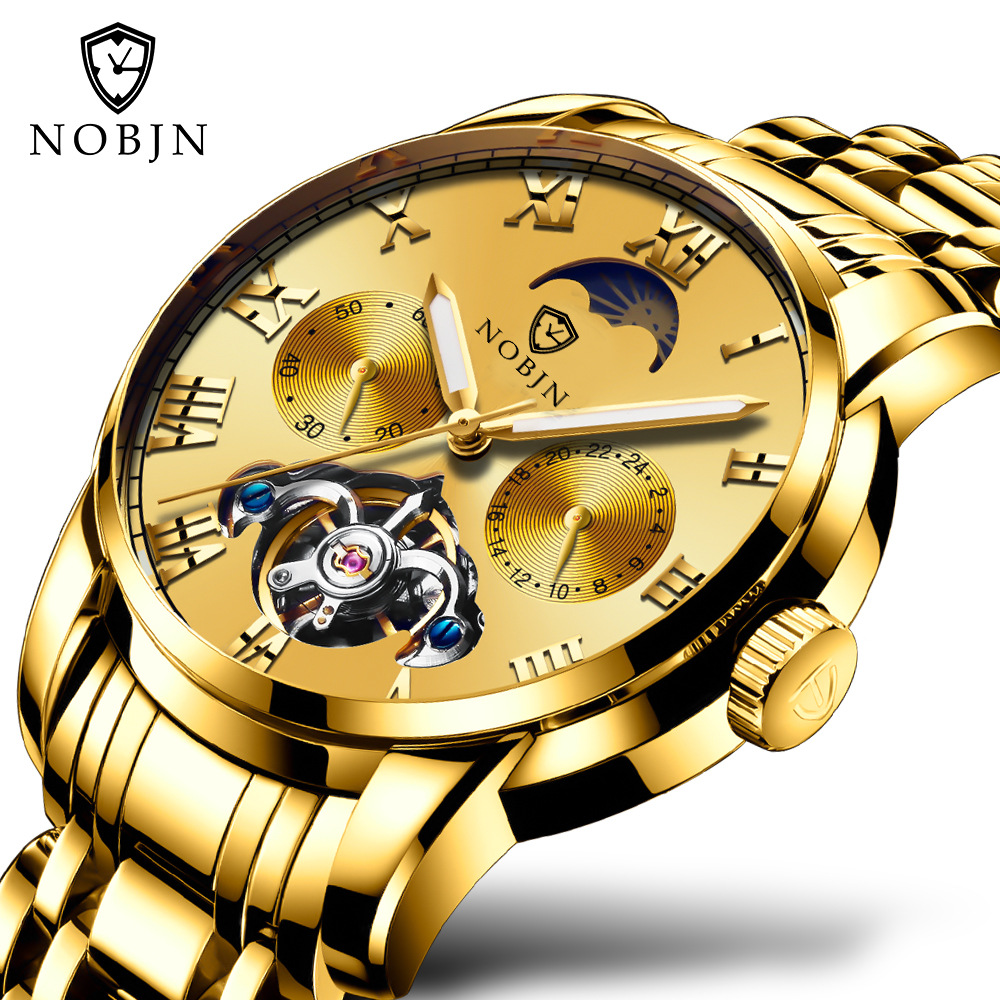 mens luxury gold watches Automatic mechanical stainless steel NOBJN brand man wristwatches Tourbillon waterproof moon phase стоимость