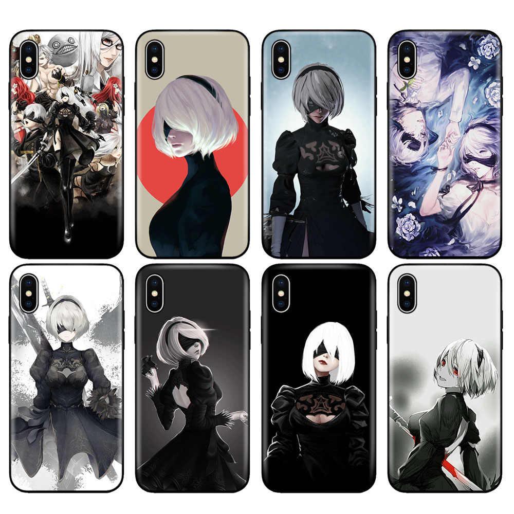 Hitam TPU Case untuk iPhone 5 5S SE 6 6S 7 8 Plus X 10 XR X Max Case Silicone Cover Yorha No.2 Type B 2B Nier Automata