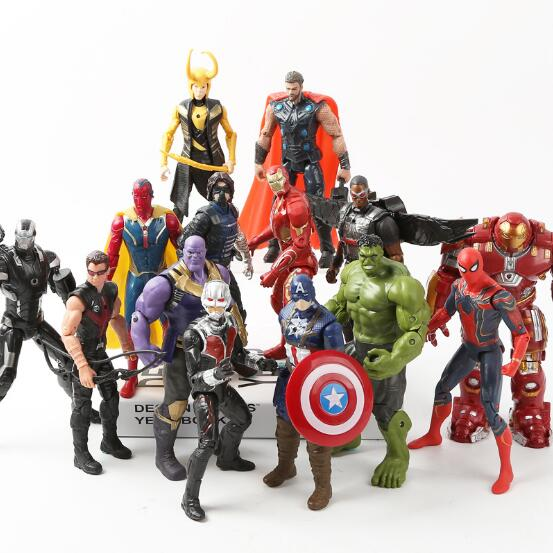 Marvel avengers 3 infinity war Movie Anime Super Heros Captain America Ironman Spiderman hulk thor Superhero PVC Figure Toy
