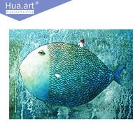 Hua Art DIY Diamond Painting 5d Cross Stitch Diamond Embroidery Animals Fish And Small House Full