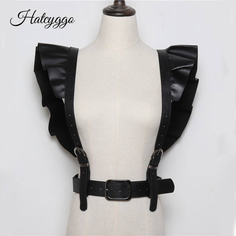 HATCYGGO Sexy Women Leather Belt Female Slim Body Bondage Cage Punk Harness Waist Straps Suspenders Fashion Belt Accessories