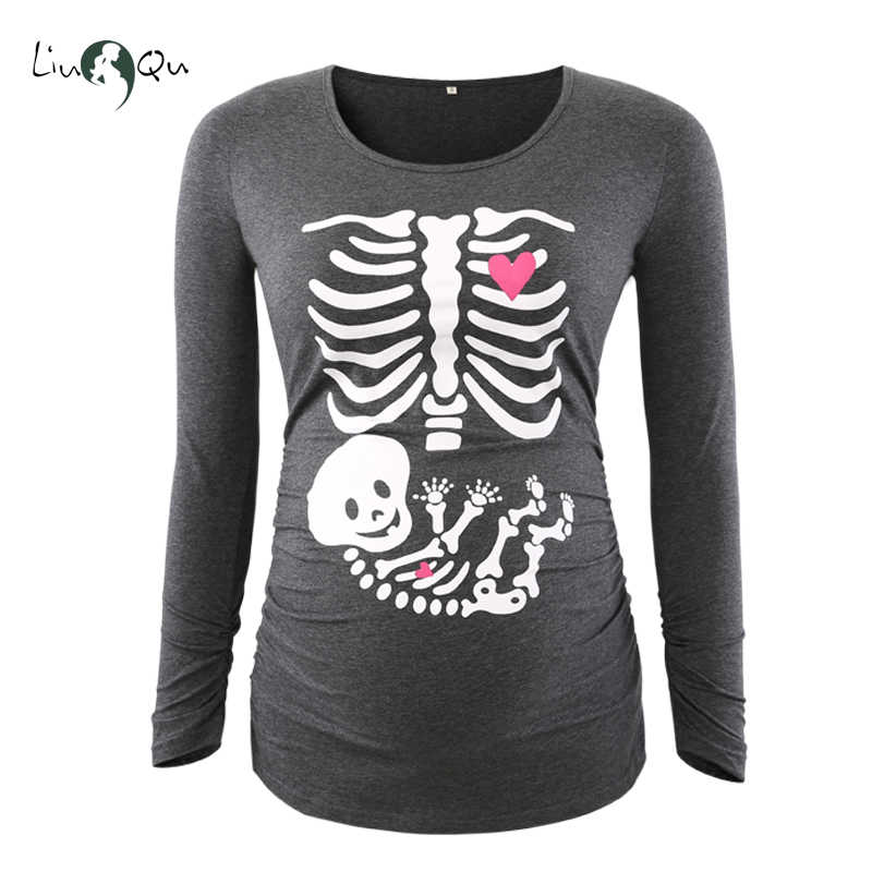 a140e2a5 Funny pregnancy shirts print skeleton maternity tops for pregnant women  long sleeve soft cotton t-