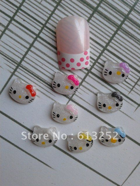 Free Shipping 3D 200pcs/bag Cute 8colors Bow Hello Kitty Face Shape Nail Resin Decoration Outlooking Nail Art Decorations