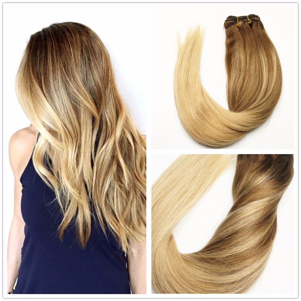 4 Blonde Blond Straight Hair Sweep Blonde Balayage: Ombre Balayage Brunette Highlights Blonde Hair Color #4 To