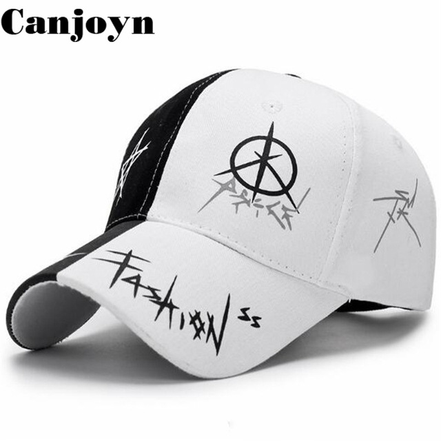 Canjoyn New Arrival Cap Hip hop Baseball Cap Bone Snapback Caps half Black  white Hat Women men Gift 3c96f84f318